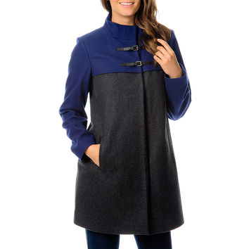 Hawke & Co Women's Grey/ Cobalt Colorblocked Wool Coat
