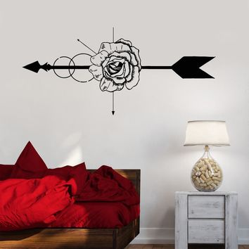 Vinyl Wall Decal Rose Flower Shop Arrow Art Decoration Stickers Unique Gift (1180ig)