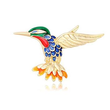 CHUANGYUN Gold Colorful Hummingbird Delicate Brooches Pins Corsages Unisex WomenampMen