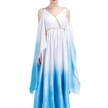 Adult Women V-Neck Barbara Greek Goddess Toga Long Costume Dress Blue Fairy Angel Cosplay Victory Princess Outfit Plus Size XL