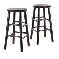 Set Of 2 Backless 24 Inch Bar Stools In Espresso Finish