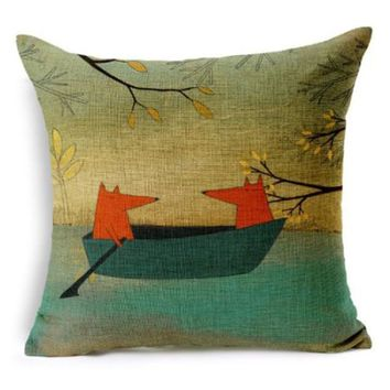 Red Fox ContemplatingDecorative Throw Pillow Cover Cushion Cover Pillow