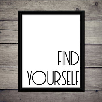 Find Yourself - Hiking Print - Instant Download - Digital Art - Printable - Explore - Adventure - Cabin Decor - Gift - Motivation - Travel