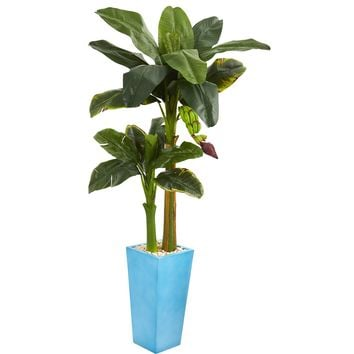 5.5' Banana Artificial Tree in Turquoise Tower Vase
