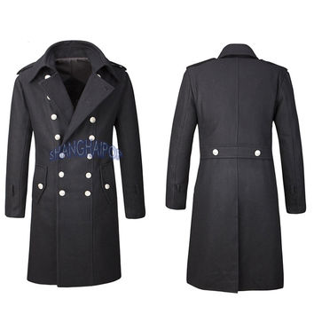 Double Breasted Trench Coat Overcoat Jacket Men Wool Outerwear Military Black