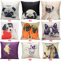 Cute Lovely Silent Pug Dog Cotton Linen Cushion Cover Animal Printed Pattern Pillowcase Throw Pillow Cover