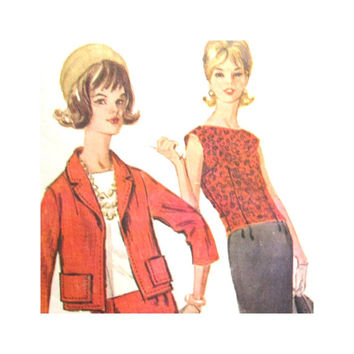 1960s Vintage Pattern Womens Suit and Sleeveless Overblouse McCalls 6531 Size 12