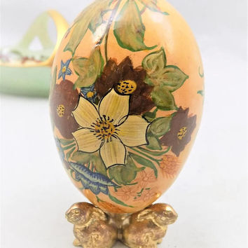 "Painted Wood Egg, With Gold Bunny Stand, Flowers and Leaves, Colorful Collectible Egg, 2 1/2"" Tall"