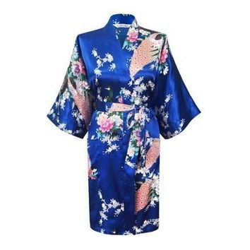 Silk Satin Floral Short Kimono Robe For Women