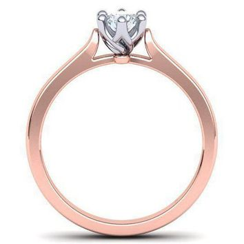 Rose Gold 2 Tone Solitaire Engagement 6 prongs Minimalist Diamond Ring Solid Gold Unique Classic Engagement Ring