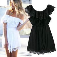 Off Shoulder Scallop Lace Mini Dress