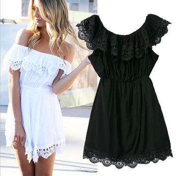 Lace Off-Shoulder A-Line Ruffled Dress