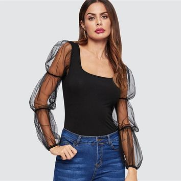 Black Highstreet Mesh Elasticized Square Neckline Puff Sleeve Form Fitting Tee Women Party Night Out Tshirt Tops