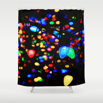 Christmas Lights Shower Curtain by 2sweet4words Designs