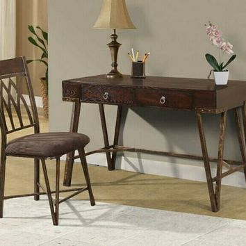 2 pc Patricia collection rustic industrial brushed pecan finish wood desk and chair
