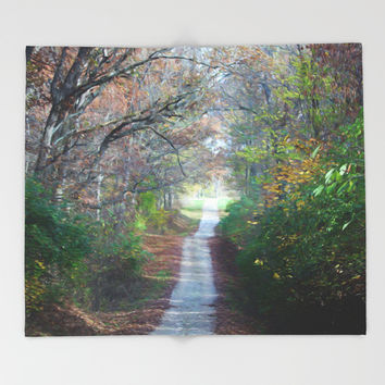 Country Road In The Fall Throw Blanket by Theresa Campbell D'August Art
