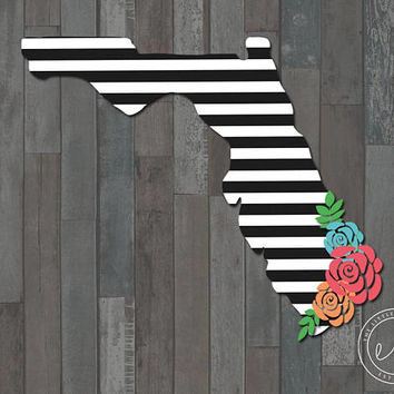 State Print Decal Floral Rose Flower Decal, Car, Yeti, RTIC, Tumbler Decal Decals