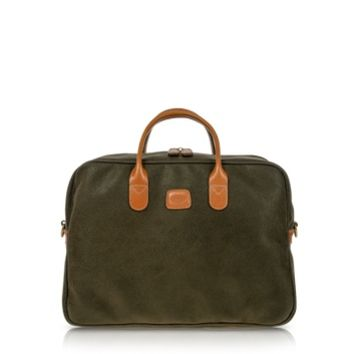 Bric's Designer Briefcases Life Olive Green Micro-Suede Holdall