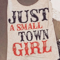 JUST A SMALL TOWN GIRL USA TANK IN HEATHER GREY