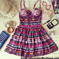 Sweet Aztec Multi Color Bustier Dress with Adjustable Straps - Size XS/S/M - Smoky Mountain Boutique