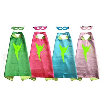 TINKERBELL Costume Cape with mask for Girls Halloween Cosplay for Kids Birthday Party Favor