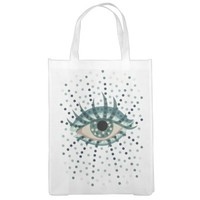 Beautiful Abstract Dotted Blue Eye Market Tote