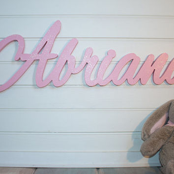 Glitter Wooden Name Sign Baby Plaque Large Painted Personalized Nursery Decor Wall
