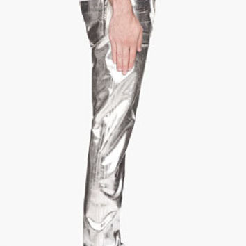 Maison Martin Margiela Metallic Silver Painted Jeans for men | SSENSE