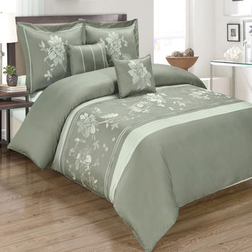 Myra Gray 5-Piece Duvet Cover Set Embroidered 100% Cotton