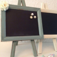 Chalkboard MAGNET Frame Table top easel UPCYCLED board Country Chic Burlap Flowers Wedding Nursery Party Home Decor
