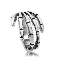 Mens Stainless Steel Finger Rings Retro Punk Skull Ghost Hand Size 11 - Adisaer Jewelry
