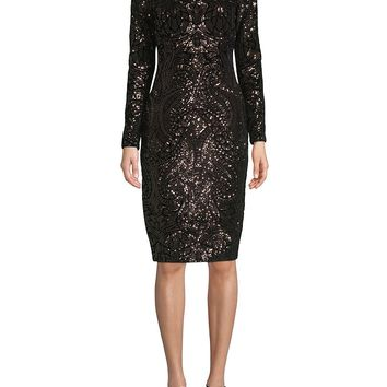 A Stunning Sequined Knee-Length Sheath Dress