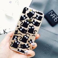 Cute Black Cat Phone Case For iphone 6 6s Plus Cover Back