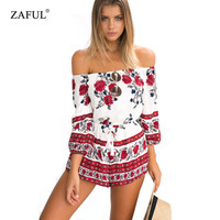 ZAFUL Brand Women Summer Bohemian Red floral print jumpsuits pants Off shoulder Long Sleeve Sexy Woman Romper Shorts Playsuit