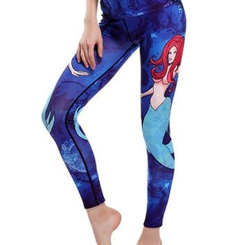 Womens Mermaid Printed Breathable Stretchy Workout Yoga Leggings