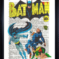 BATMAN print mixed media On An Vintage Dictionary Page retro  ANTIQUE Book Print superhero Buy 2 prints and get 1 print Free ( 68 L)