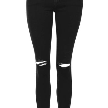 MOTO Washed Black Ripped Leigh Jeans | Topshop