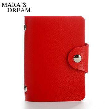 Mara's Dream 24 Bits Women Men Credit Card Holder PU Leather Hasp Unisex ID Holders Package Organizer Manager 2017