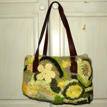 Freeform Crochet Purse, Sunlit Meadow, Upcycled, Green Yellow,  Eco Friendly, Hippie, Boho