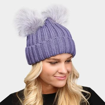 Double Fur Pom Pom Knit Beanie Hat