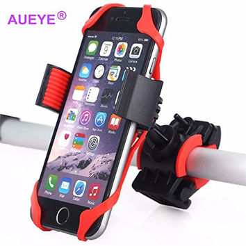 iPhone 6S Plus Bike Mount Aueye® Universal Cellphone Holder Bicycle Rack With Silicone Pad Handlebar Motorcycle Phone Mount Cradle For Samsung Galaxy S5 S4 S3 Note 4 Note 5,Nexus 5,HTC ,LG,Blackberry