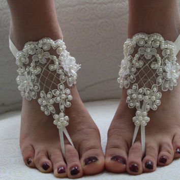 Beaded ivory lace wedding sandals, free shipping!5 sets of bridesmaid