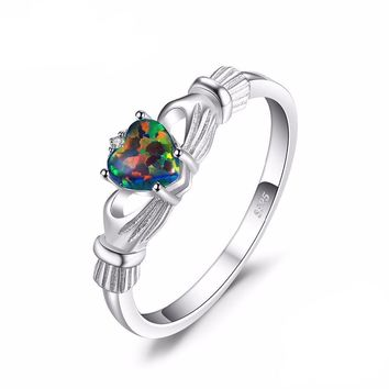 Black Fire Opal Multicolor Irish Claddagh Rainbow Ring Solid 925 Sterling Silver Ring
