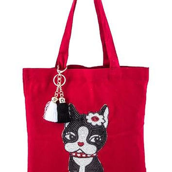 Bright Red French Bulldog Puppy Sequin Shoulder Tote Bag Purse