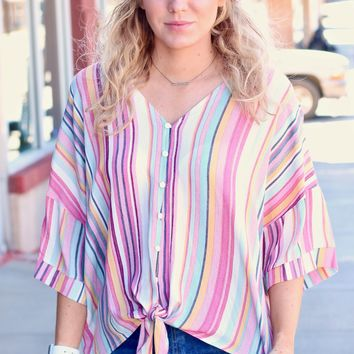 Candy Vertically Striped Tie Front Blouse {Multi}