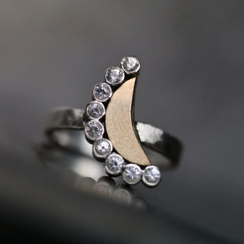Moon and Stars Engagement Ring Gold Silver Sapphire - Eternal Glow