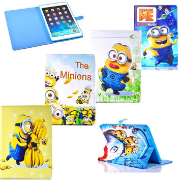 Fashion Cartoon New Despicable Me Minions Character PU Leather Stand Flip Case Smart Tablet Covers For ipad mini 3 2 1 For Kids