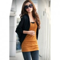 Open Front Long Sleeve Knitting+Cotton Hooded Cardigan For Women