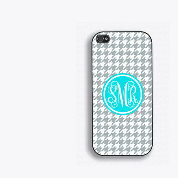 Houndstooth and Tiffany Blue Monogram iPhone Case, for iPhone 5, iPhone 5s, iPhone 5c, iPhone 4, iPhone 4s, Galaxy S3, S4 and S5. fcm107