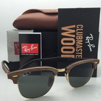 Polarized RAY-BAN Sunglasses CLUBMASTER WOOD 3016-M 1181/58 Walnut & Gold +Green